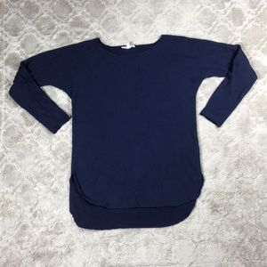 Joan Vass Cashmere Blend Sweater Navy Blue Tunic